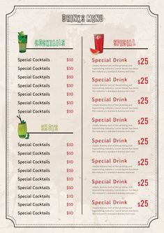 Bar Drink Menu Design Template