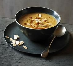 Moroccan spiced cauliflower& almond soup Ingredients: 1 large cauliflower  2 tbsp olive oil  ½ tsp each ground cinnamon, cumin and coriander  2 tbsp harissa paste , plus extra drizzle  1l hot vegetable or chicken stock  50g toasted flaked almonds , plus extra to serve