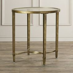 Pairing metal and tempered glass, the Horton Side Table features a brushed, antiqued gold finish for an elegant look with just a hint of glamour. Diy End Tables, Glass End Tables, Living Room End Tables, Sofa Tables, Dining Room, 3 Piece Coffee Table Set, Circular Table, Counter Height Table, Gold Table