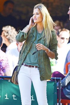 Bar Rafaeli wears her white jeans with a green field jacket + tee // #Fashion #Style