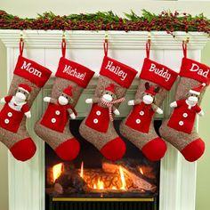Botas Navideñas marrones con muñecos navideños en rojo.