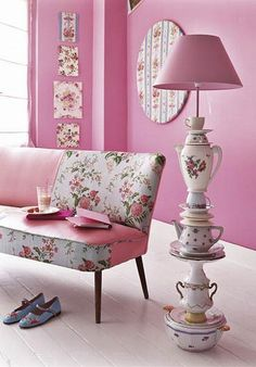 Pink Decoration with Teapot Lamp by vanamaki. Cute lamp but the room is too pink for me. Tea Cup Lamp, Tea Cups, Coffee Cups, Decoration Shabby, Pink Decorations, Teacup Crafts, Creation Deco, Everything Pink, Pretty In Pink