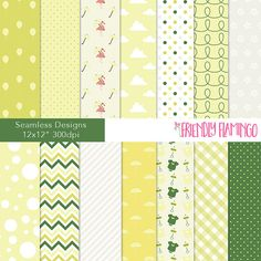 Baby shower digital paper pack neutral baby by TheFriendlyFlamingo