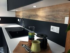 Kitchen credenza in black fenix and aged oak, with ceramic worktop. Kitchen Dining, Kitchen Decor, Kitchen Worktop, Bread Storage, Small Kitchen Storage, Kitchenette, Home Staging, White Wood, Modern Decor