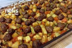 Muhteşem Şipşak Misket Köfteli Sebze Kebabı Tarifi Turkish Recipes, Ethnic Recipes, Turkish Kitchen, Iftar, Fruit Salad, Macaroni And Cheese, Food And Drink, Menu, Dishes