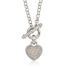 Pave Diamond Heart Necklace in Sterling Silver. This necklace is so easy to fall in love with. #valentinesday Click the necklace to see more styles like this.