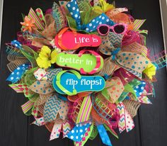 Summer deco mesh wreath, flip-flop mesh wreath, Flip-flop deco mesh wreath, flip-flop wreath, summer wreath, front door wreath by ShellysChicDesigns on Etsy https://www.etsy.com/listing/227562840/summer-deco-mesh-wreath-flip-flop-mesh