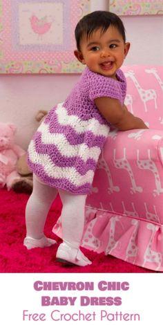Violet Chevron Chic Baby Dress - Free Crochet Pattern