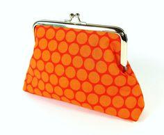 Cosmetic bag purse clutch toilet bag case orange Riley Blake #rileyblakedesigns #honeycombdot #clutch