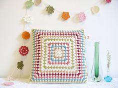 crochet cushion + lovely colours