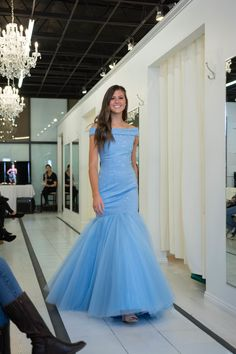 0ea6a475c4 Sherri Hill Light Blue Fitted mermaid off the shoulder beaded long floor  length dress Ypsilon Dresses