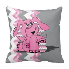 Funny Pink Chevron Silly Elephant Throw Pillow