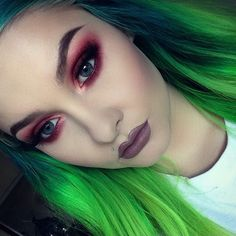 Classic red pink smokey dark blended eye makeup color, colorful eyeshadow, black eyeliner wing, eyebrow shape/ brows, highlights/ lowlights contour, airbrush effect, lips, deep purple lipstick tone