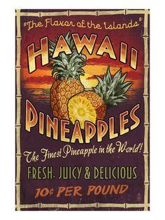 Kauai, Hawaii - Pineapple Vintage Sign - Lantern Press Artwork (Art Print Available) Hawaiian Decor, Hawaiian Art, Hawaiian Tattoo, Hawaiian Gardens, Hawaiian Tribal, Pineapple Wall Decor, Pineapple Art, Pineapple Kitchen, Hawaii Vintage
