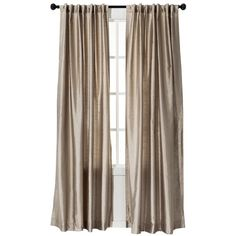 Threshold Faux Silk Curtain Panel - Tan ($25) ❤ liked on Polyvore featuring home, home decor, window treatments, curtains, interior, taupe curtain panels, faux silk drapery panels, faux silk window panel, faux silk curtains and target curtains