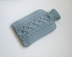 Hot Water Bottle Cover, Knitted Cosy,Duck Egg - LANGLEY