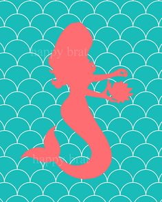 I like this color combo for G's room - MERMAID Coral and TurquoiseMermaid Art 'Modern by HappyBrat, $12.00