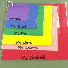 """Great Social Studies """"where do I live"""" activity! I laminated the cards so students can do this as a daily practice by using dry erase markers to write and erase their personal information."""