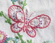 Hand Embroidered Butterfly Towel from Children's Embroidery Class, Summer, 2008. Sweet embellishment idea.