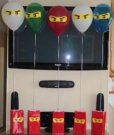 Mimi's Memories: Lego Ninjago Masters of Spinjitzu birthday party - NO WAY! Kiddo will LOVE this. Ninja Birthday Parties, Birthday Fun, Birthday Ideas, Birthday Favors, Birthday Balloons, Ninjago Party, Lego Ninjago, Festa Ninja Go, Party Ideas