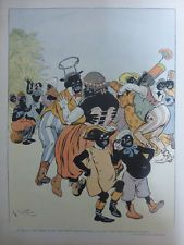 1904 AFRIQUE DESSIN DE LA NEZIERE HOMME NOIR CAKE WALK BLANC VALSE MENUET DANSES