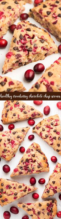 {HEALTHY!} Cranberry Chocolate Chip Scones -- only 152 calories! Just 1 bowl & 30 minutes required! SO easy, but they taste like they came from a fancy bakery! I always get RAVE reviews about this #recipe! #healthy #glutenfree #cleaneating