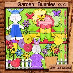 Garden Bunnies  Digital Scrapbooking Clip Art by LatteDahDesigns, $2.75