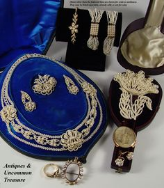 Superb Georgian seed pearl jewelry, antiques dating c. 1770-1830. Just look at the delicate nature of the tiny pearls strung on horsehair or silk (both were used) against a matrix of carved mother of pearl panels and often mounted with gold wires, these stunning old creations survive the 200-250 years in various states of completion. We have a few that require a small bit of restoration and we're searching for someone who still does restoration on seed pearls.