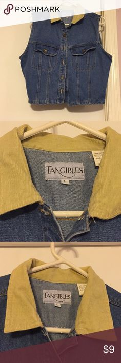 Trendy jean vest Great condition jean vest with corduroy collar! tangibles Jackets & Coats Vests