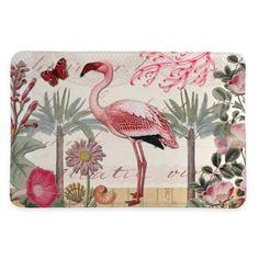 Laural Home® 20-Inch x 30-Inch Botanical Flamingo Memory Foam Rug - BedBathandBeyond.com