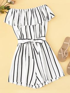 To find out about the Striped Off The Shoulder Ruffle Trim Belted Playsuit at SHEIN, part of our latest Jumpsuits ready to shop online today! Cute Lazy Outfits, Teenage Outfits, Outfits For Teens, Pretty Outfits, Stylish Outfits, Girls Fashion Clothes, Summer Fashion Outfits, Cute Fashion, Gothic Fashion