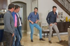 As seen on Brother Vs. Brother…guest judges David Bromstad and Josh Temple of HGTV's Beach Flip, plus host JD Scott look on as Jonathan and Drew practice thier dance moves. The brother not chosen as the winner by Josh and David will be dared to perform alongside male strippers at the Thunder From Down Under show at the Excalibur Casino in Las Vegas.  #BroVsBro