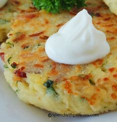 Mashed Potato Cakes: 2 cups cold mashed potatoes 1 cup shredded cheese (such as cheddar) cup flour 6 strips bacon 1 medium onion, chopped 2 eggs 2 tbsp fresh basil, chopped 2 tbsp fresh parsley, chopped 2 cloves garlic, chopped 1 tsp salt tsp pepp Mashed Potato Cakes, Loaded Mashed Potatoes, Loaded Potato, Fried Mashed Potato Patties, Fried Potato Cakes, Leftover Mashed Potato Pancakes, Leftover Potatoes, Baked Potatoes, I Love Food