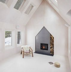 fireplace with nice place for wood.  Looks good not sure of the safety factor though.