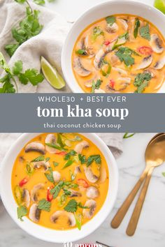 This tom kha soup (Thai coconut soup) is absolutely perfect. Rich and creamy yet tangy and salty, this tom kha soup is filling but light and positively bursting with flavor. The very best recipe I've ever made or tried, this Thai coconut ch Thai Coconut Chicken, Thai Coconut Soup, Spicy Thai Chicken Soup, Coconut Soup Recipes, Milk Recipes, Curry Recipes, Asian Recipes, Healthy Recipes, Ethnic Recipes
