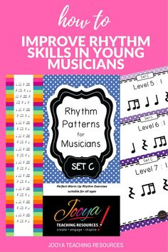 Rhythm Patterns for Musicians from Jooya Teaching Resources. Set C contains 10 levels with 15 rhythms of progressing difficulty in each level. Great to use as a warm up with all your music classes, private music students, band or choirs.