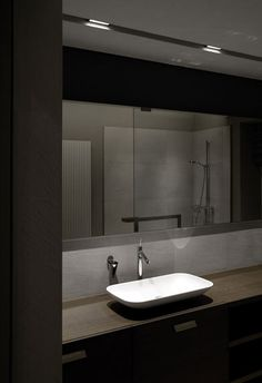 Stylish bathroom interior, dark wood and masculine colour palettes _