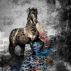 Persian Calligraphy, Calligraphy Art, Iranian Art, Arabic Art, Islamic Pictures, Horse Art, Islamic Art, My Drawings, Lion Sculpture