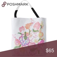 "Limited Edition Artist Designed Tote Limited Edition Artist Designed Tote, Large, base: 18""l x 18""w x 3""d, 100% polyester.          handles: 28""l x 1""w, 100% cotton.                           Professional artist sketch printed (back & front), pink/multicolor floral design w/signature on white background, black handles, amount available is very limited (not mass produced), BRAND NEW (Retail) Dévi Bags Totes"