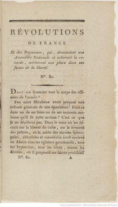 """28 novembre 1789 : parution du 1er numéro de """"Révolutions de France et de Brabant"""" / par Camille Desmoulins"""