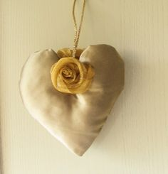 gold fabric stuffed heart with hand rolled organza roses