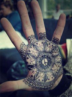 Peace Henna Mandala - 45  Eye-Catching Tattoos on Hand  <3 <3
