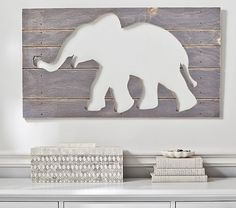 Gray Elephant Wood Plaque