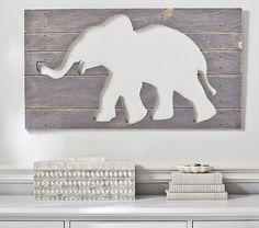 Gray Elephant Wood Plaque