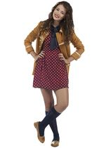 Love everything from the knee-high socks with loafers to the polka-dot frock and military-style coat...