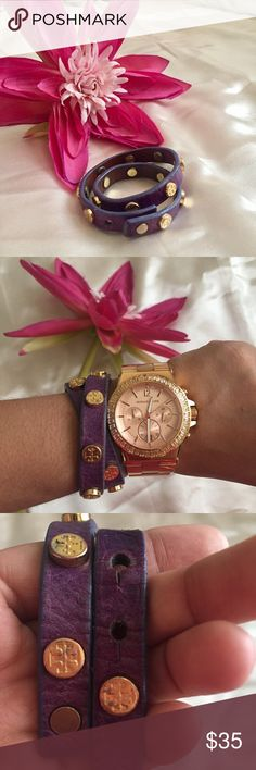 Tory Burch Purple Gold Wrap Bracelet Adorable wrap bracelet, one size fits all. Price is set to sell fast. Please see wear in photos! Thank you:) Tory Burch Jewelry Bracelets