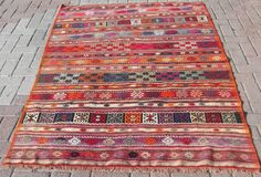 Anatolian Turkish ( Dursunbey ) Kilim Rug Carpet 56,3''x 77,2'' (143cm x 196cm).  What if we combined two smaller rugs?