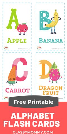 Free Printable Alphabet Flash Cards! Super cute DIY alphabet flash cards with fruits and veggies from #Dole. Perfect way to learn  letters and all the various fruits and veggies. Fun for kids from @DolePins More downloadable educational resources kids  - coloring pages, crossword puzzles, flashcards and more. #ad  #DoleInsiders #DoleatHome #GrowwithDole #BrandsSupportingMoms #freeprintables #alphabetflashcards #flashcards Free Printable Alphabet Letters, Letter Flashcards, Color Flashcards, Free Printable Flash Cards, Abc Flash Cards, Letters For Kids, Alphabet For Kids, Learning Cards, Learning Letters