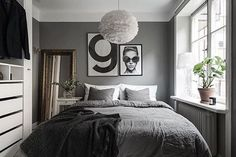 Love this beautiful grey bedroom! VITA Eos lamp available at www.istome.co.uk
