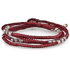 4 Layer Vibrant Knotted Wrap Silver Bead Bracelet